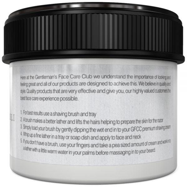 GFCC Bergamot And Neroli Shaving Cream - Back Of Pot - Gentlemans Face Care Club
