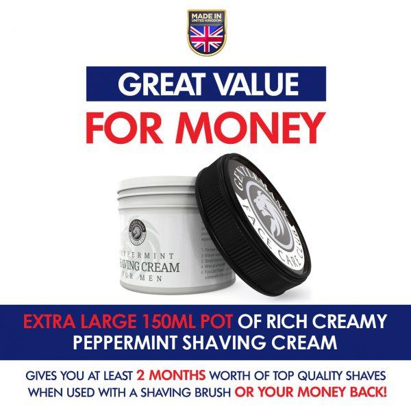 GFCC Peppermint Shaving Cream Big Pot Size - Gentlemans Face Care Club