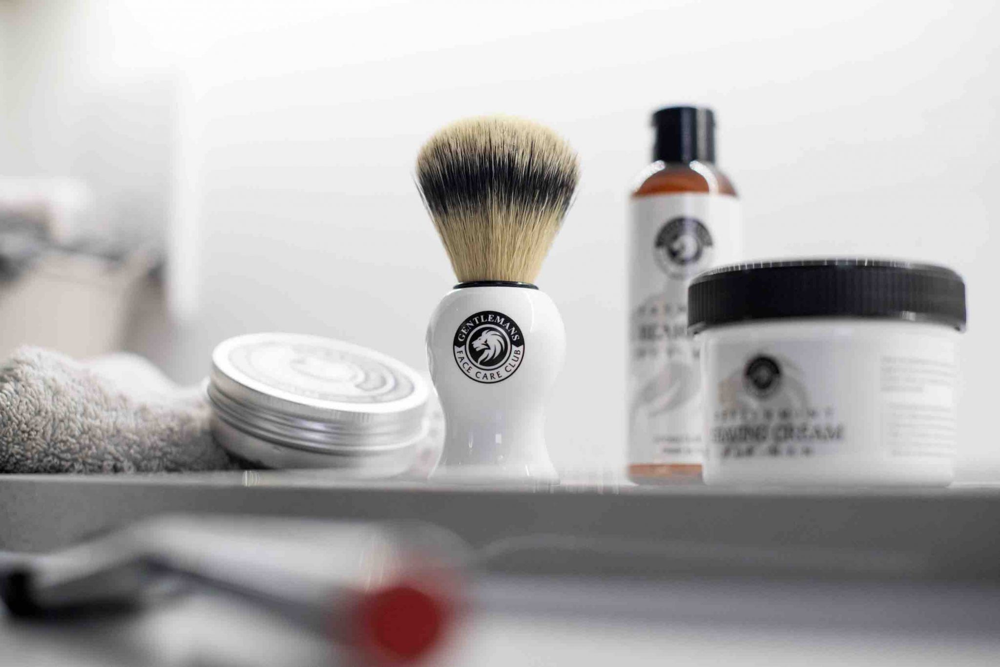 traditional shaving products - brush, cream and balm