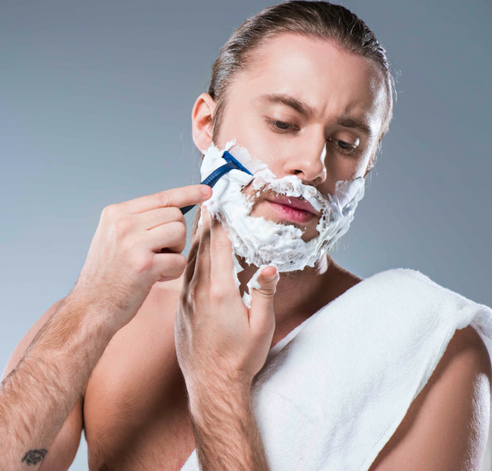 How to make your own shaving cream - man having a shave